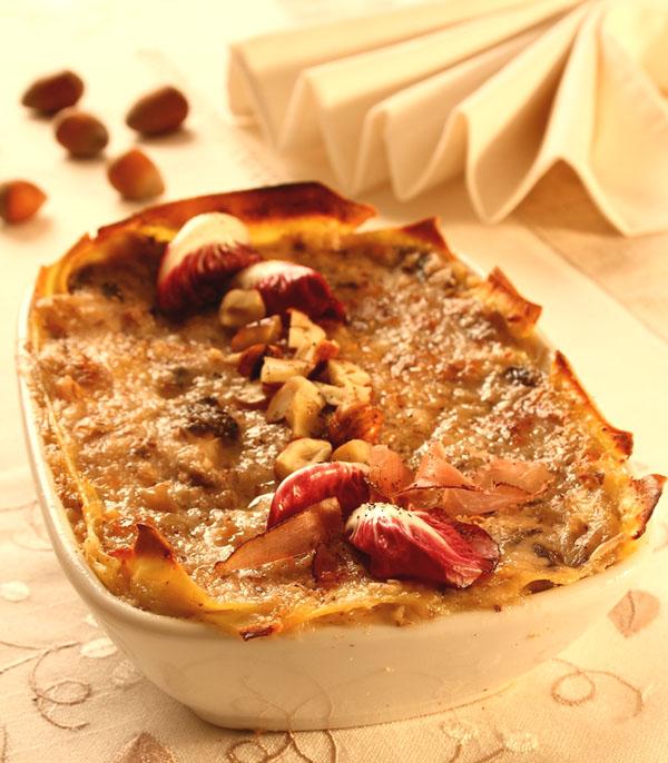 Lasagne al radicchio di Asigliano, speck e nocciole dei Colli Berici