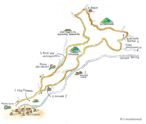 Mappa il sentiero della Grande Guerra a Brendola - Colli Berici