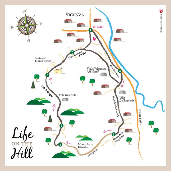 Mappa sentiero del Risorgimento a Vicenza